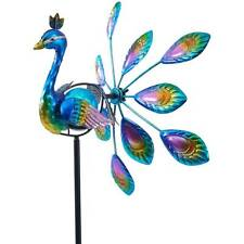 Metal Peacock Solar Lighted Wind Spinner Garden Stake Decor Yard Lawn Patio 37