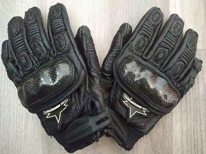 ICON WOMENS Merc Black Carbon fiber Knuckles Riding Leather Gloves astar Fox FS