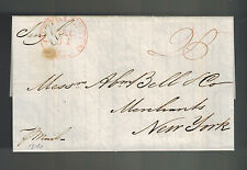 1840 Charleston Sc Usa Stampless Cover to New York