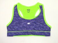 Girls New Balance Size M 7/8 Neon Green & Purple Racerback Sports Bra