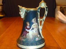 Gorgeous Antique Royal Vienna Porcelain Pitcher with Ornate Painted Scene