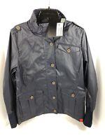 Women's XL Slim Fit Mini Cooper Lined Rain Coat, Jacket Slicker Navy Blue