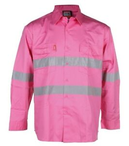 STUBBIES Cotton Drill Shirts, Long Sleeve, 3M Reflective Tape
