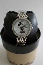 New Disney Mickey Mouse Ladies Silver Tone Watch.Quartz.Box/ Warranty.Free Ship