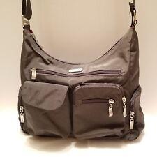 Bagallini Womens Hobo Washable Purse Handbag Lots Of Pockets Gray