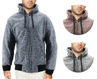 Men's Salt and Pepper Soft Sweater Sherpa Lined Heathered Zip Up Hoodie Jacket