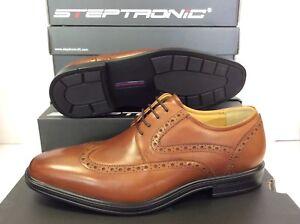 Steptronic Edward Lace Up Tan Cognac Waxed Leather Mens Shoes UK 11 EU 45
