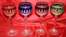 Waterford Clarendon Cut to Clear Crystal Wine Goblets Emerald Ruby Cobalt Purple