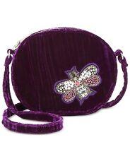 Steve Madden NWT $78 Lotus Mini Canteen Butterfly Bug Purple Velvet Crossbody