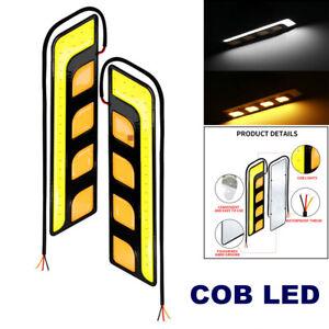 1Pair 12V COB LED Car DRL Daytime Running Lamp Turn Signal White + Amber Light