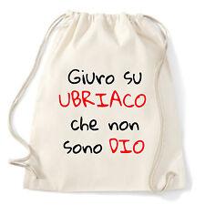 Art T-shirt, Zaino Non Sono Ubriaco, Bianco, Sacca Gym