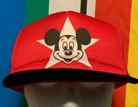 Vintage 90s Mickey Mouse Baseball Hat Snapback Cap Red Disney Mesh Trucker USA