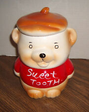 """Vintage """"SWEET TOOTH"""" Bear Cookie Candy Snack Sweets Jar 7"""" Tall"""
