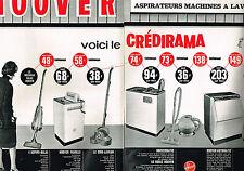 PUBLICITE ADVERTISING 1963 HOOVER lave linge lave vaisselle aspirateur (2 pages)