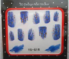1 Paquet de Stickers Pour Ongles PLUMES Bleu tacheté  -  Réf. : YS-G16