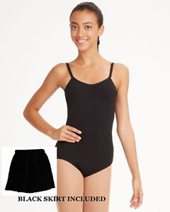 Bloch CL5407 Black Child Int (6x-7) Camisole Leotard Tan Footed Tights And Skirt