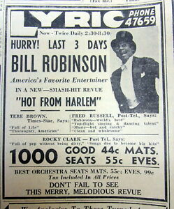 """1941 newspaper with Ad HIGHEST PAID NEGR0 ENTERTAINER  BILL """"Bojangles"""" ROBINSON"""