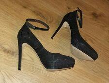 Dark Grey Glittery Sparkling NEXT Strappy Ankle Platform High heels size 7 / 41