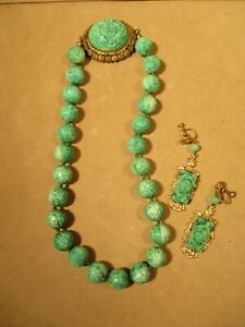 VTG Asian Carved Green Peking Glass Czechoslovakia Beaded Necklace & Earrings