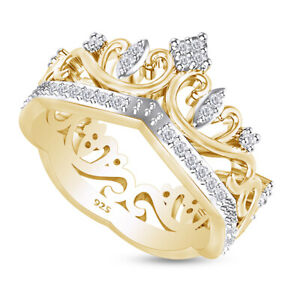 Round Simulated Diamond Princess Crown Band Ring in 14k Yellow Gold Over Silver