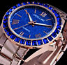 Excellanc Damen Armband Uhr Blau Rose Gold Farben Metall Strass