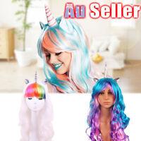 Unicorn Headband Costume Wigs Wig Pony Rainbow Bookweek Cosplay Flutter party