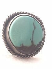 Vintage Sterling Silver Southwest  Turquoise Landscape Ring Size 10  7.8g