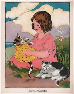 GIRL PLAYING WITH HER CATS, ONE IN DRESS, VINTAGE PRINT AUTHENTIC 1930
