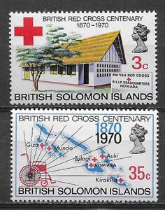 BRITISH SOLOMON ISLANDS , 1970 , 100 YEARS RED CROSS , SET OF 2 , MNH