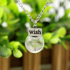 """Fashion Dandelions Glass Sphere With """"Wish"""" Card Pendant Unique Necklace Jewelry"""
