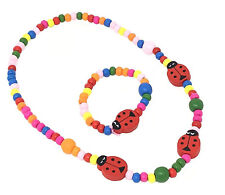 Girls Children Wooden Ladybird Necklace and Bracelet Set Stretchy Jewellery Kids