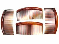 4 Pack 9cm Tort Brown Plain Side Hair Combs Slides Grips Hair Accessories