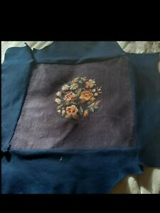Vintage Pre Used Needlepoint Chair or Stool Bench Cover for  Replacement