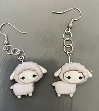 🐑 Sheep Lamb Earrings HANDMADE White Gray Dangle Farm Animals Cute