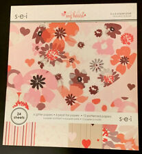 """SEI With All My Heart Paper Pad Flowers Hearts Floral Valentine 6x6 6"""" NEW"""