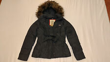 NWT Hollister FUR Hoodie FEATHER Jacket Coat FREE BELT Womens L Large Grey Gray