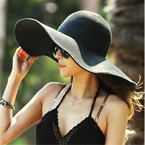 USA Women's Summer Large Floppy Folding Wide Brim Cap Sun Straw Beach Hat