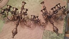 Pair of Beautiful Vintage Bronze 5 Candle Wall Sconces Candelabras!