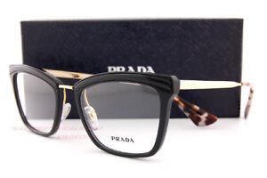 Brand New Prada Eyeglasses Frames 15U 15UV KUI Black/Gold SZ 52 Women
