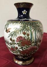 """Vintage Porcelain Japanese Satsuma Cobalt Blue Bird Painted Flower Vase Mark 5"""""""