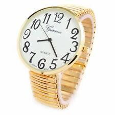 Gold Super Large Size Round Face Stretch Band Easy to Read Geneva Women's Watch