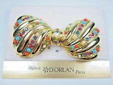 Swarovski Crystals and Sandstones 1370 D'Orlan Gold Plated Bow Brooch with