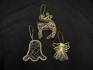LOT OF 3 GOLD TONE WIRE CHRISTMAS TREE ORNAMENTS ANGEL BELL REINDEER