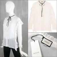 $1390 Gucci Women Ivory White Cotton Silk Ruffle Bow Shirt Blouse Size S IT40