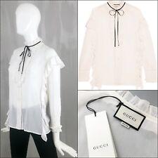 8ae7e8692518ed $1390 Gucci Women Ivory White Cotton Silk Ruffle Bow Shirt Blouse Size S  IT40