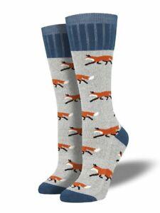 Socksmith Womens Outlands Boot Socks Fox Gray Blue Warm Novelty Footwear New