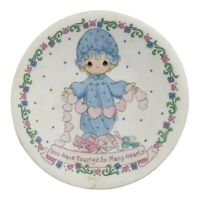 """Vintage Precious Moments Enesco Porcelain Plate 4"""" Small Girl Touch Heart Taiwan"""