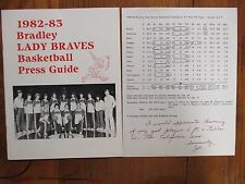 JOE  STOWELL  Signed  Note  &  1982 Bradley Lady Braves Women's Basketball Guide