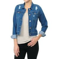 Women's Plus/Junior size Cropped Ripped Denim Jackets Long Sleeve Jean Coats