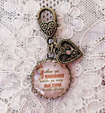 "GATHER YE ROSEBUDS Glass Charm Filigree Brass 1"" ZIPPER PULL Key Ring VICTORIAN"